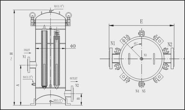法兰式、环形螺母式开启中小流量精密过滤器规格参数