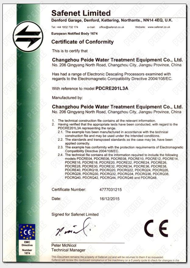 广谱感应水处理器荣获欧盟CE认证