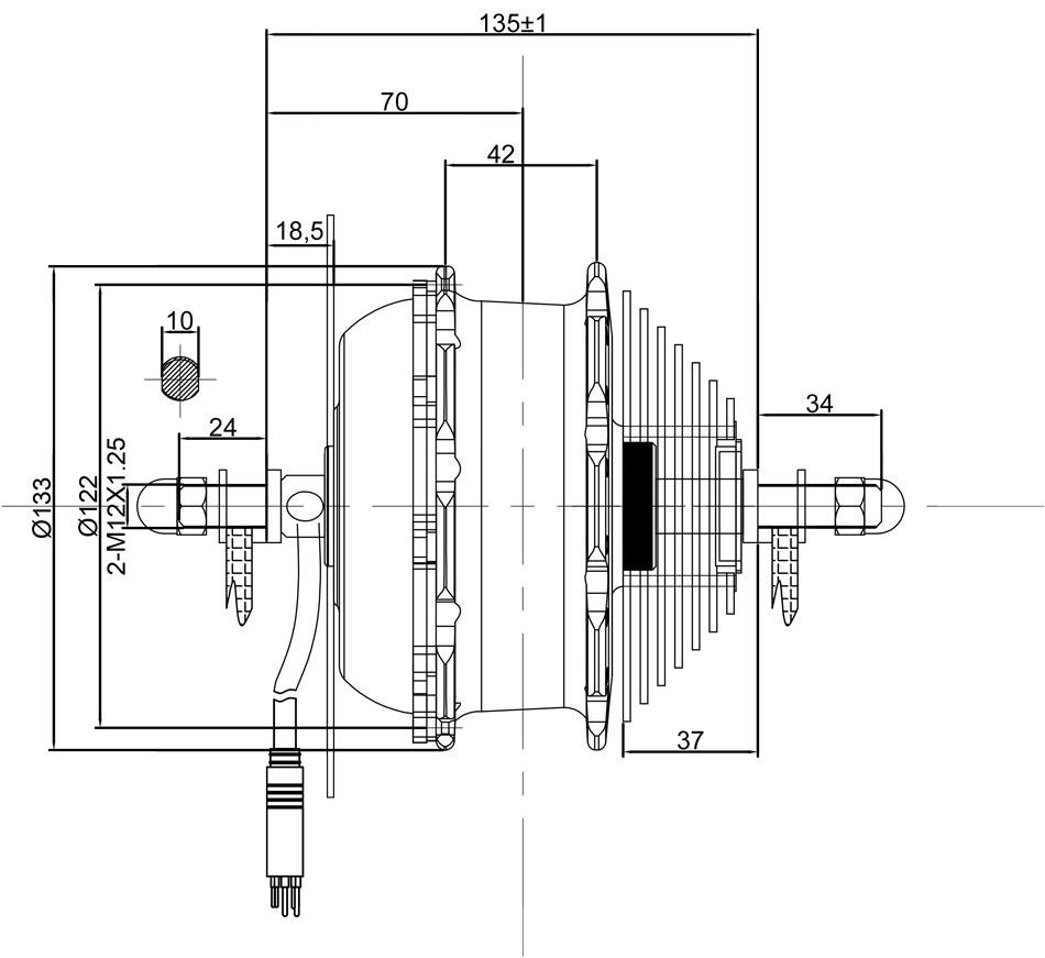 36V 250W rear drive e-bike conversion kit