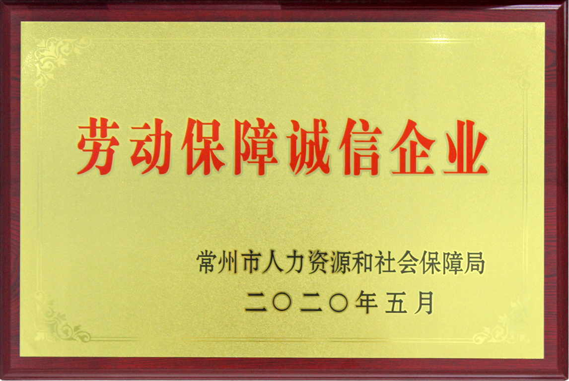 劳动保障诚信企业铜牌